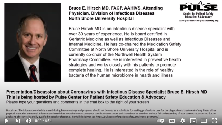 Bruce Hirsch MD- March 2020 Helping us Understand COVID-19