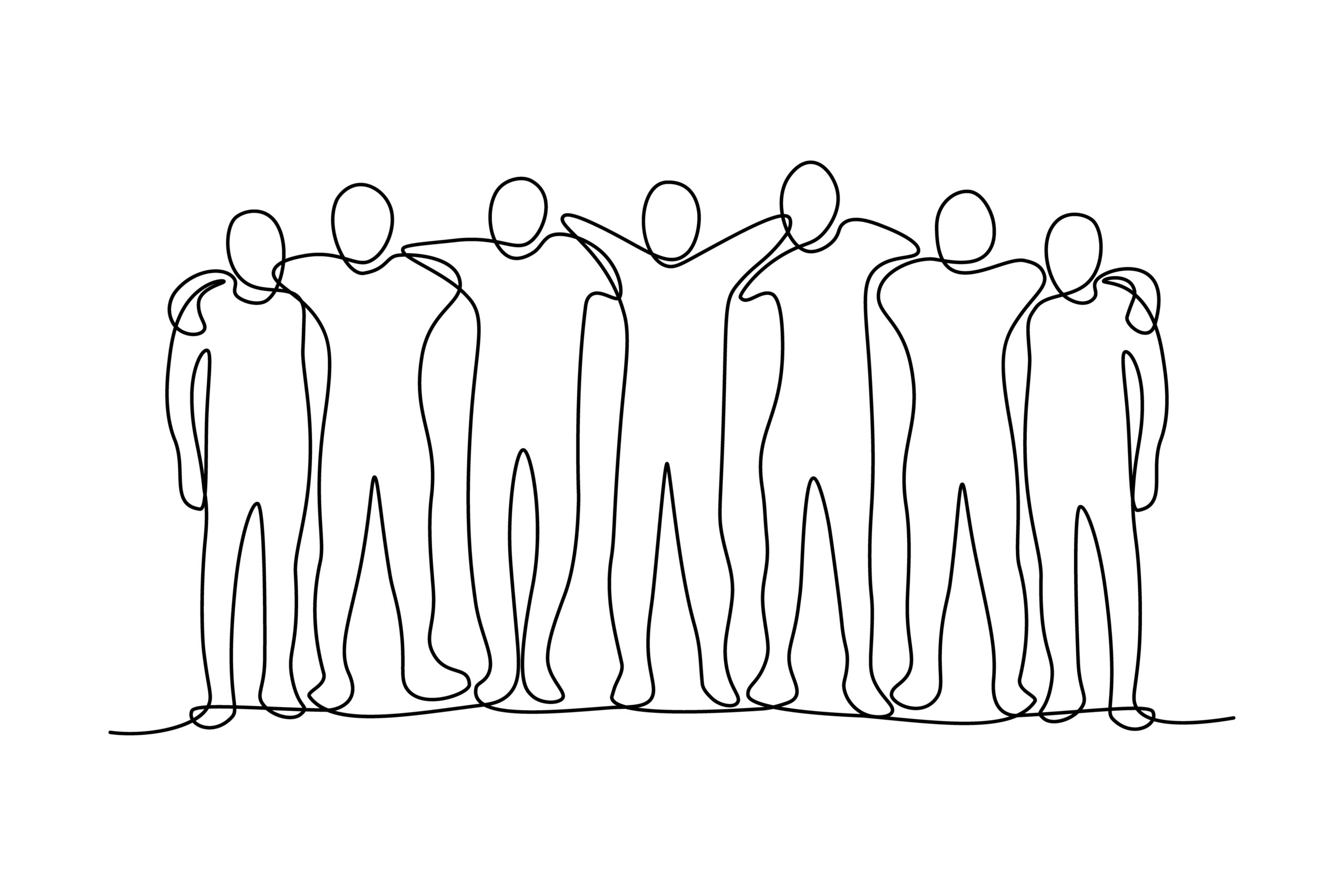 Group of abstract people hugging together in continuous line art drawing style. Friendship and teamwork concept. Minimalist black linear design isolated on white background. Vector illustration